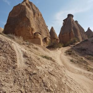 Beautiful views of the mountains in Cappadocia in Turkey