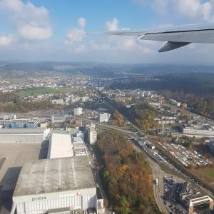 Aerial view of the Zurich Flughafen airport (ZRH) in Switzerland