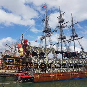 Pirate ship ship at the sea