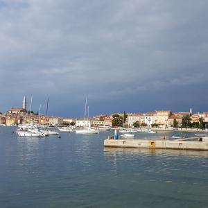 Beautiful Old Town of Rovinj, Croatia stock photo