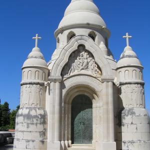 The Mausoleum of the Petrinovic family by sculptor Toma Rosandic in Supetar on the island of Brac Dalmatia Croatia
